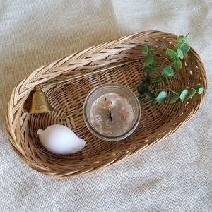 Vintage Boho Rattan Wicker Oval Tray Decor Basket